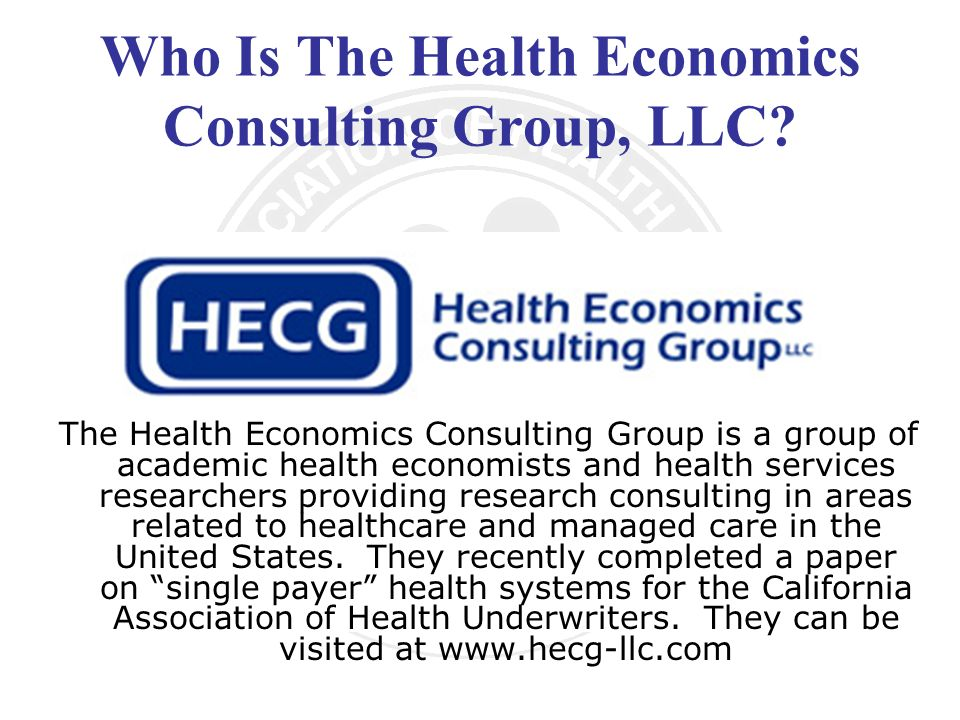 Who Is The Health Economics Consulting Group, LLC.