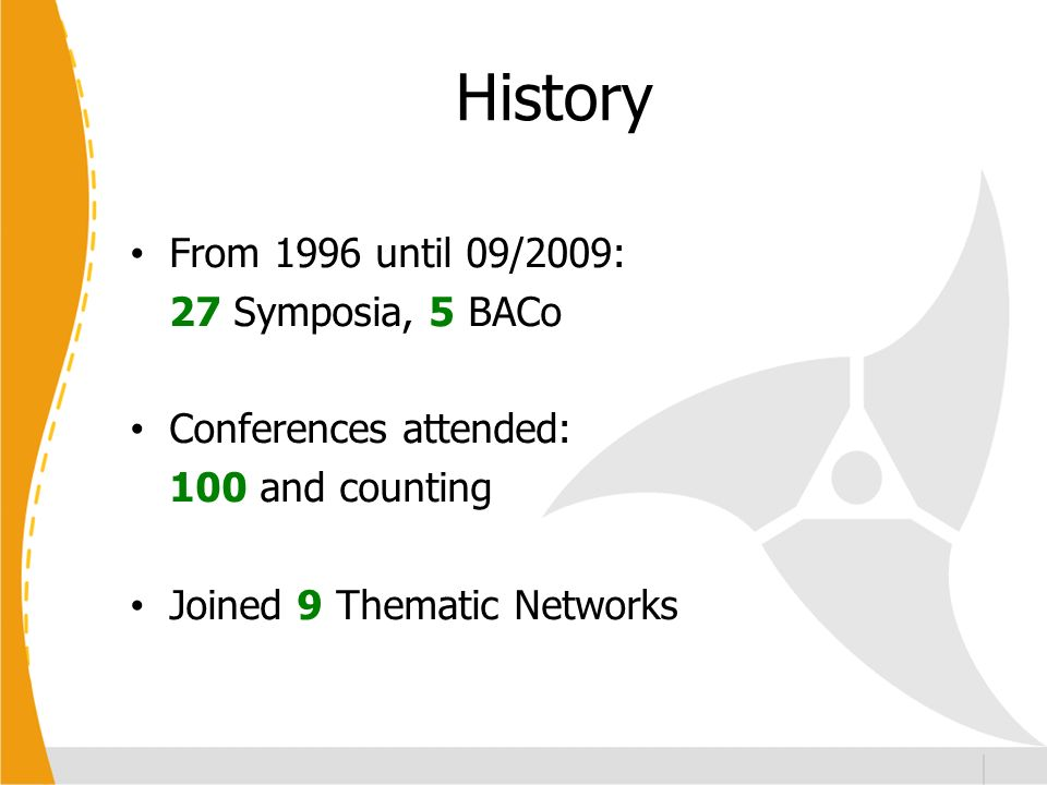 History From 1996 until 09/2009: 27 Symposia, 5 BACo Conferences attended: 100 and counting Joined 9 Thematic Networks
