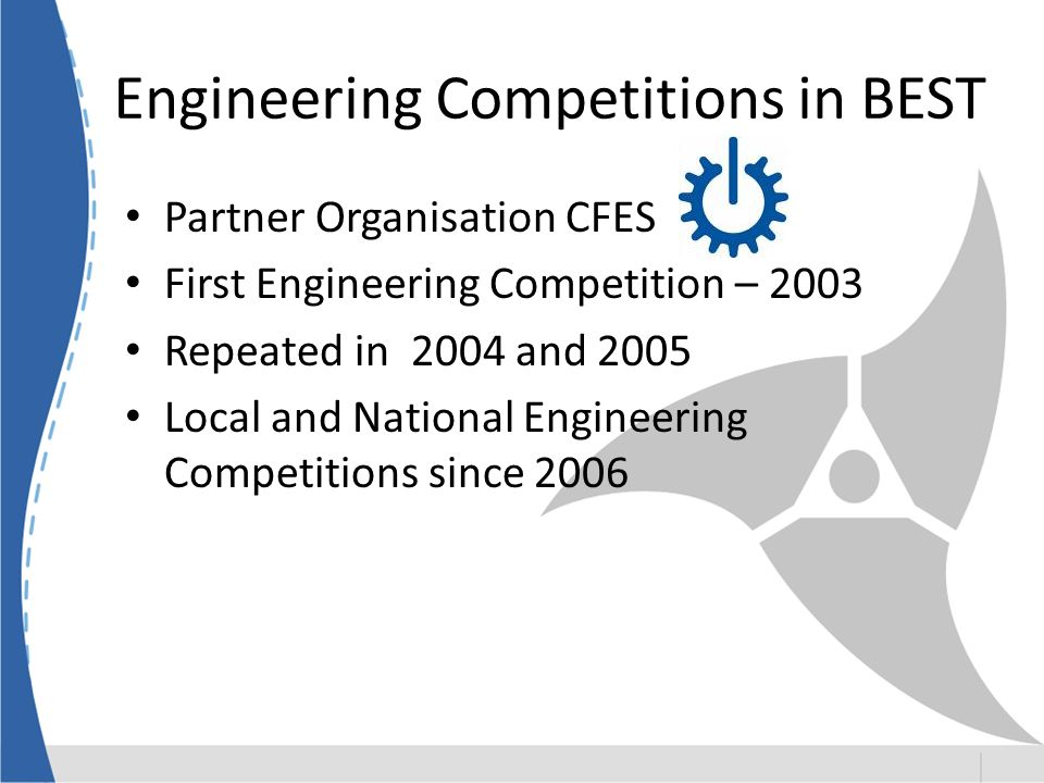 Engineering Competitions in BEST Partner Organisation CFES First Engineering Competition – 2003 Repeated in 2004 and 2005 Local and National Engineering Competitions since 2006