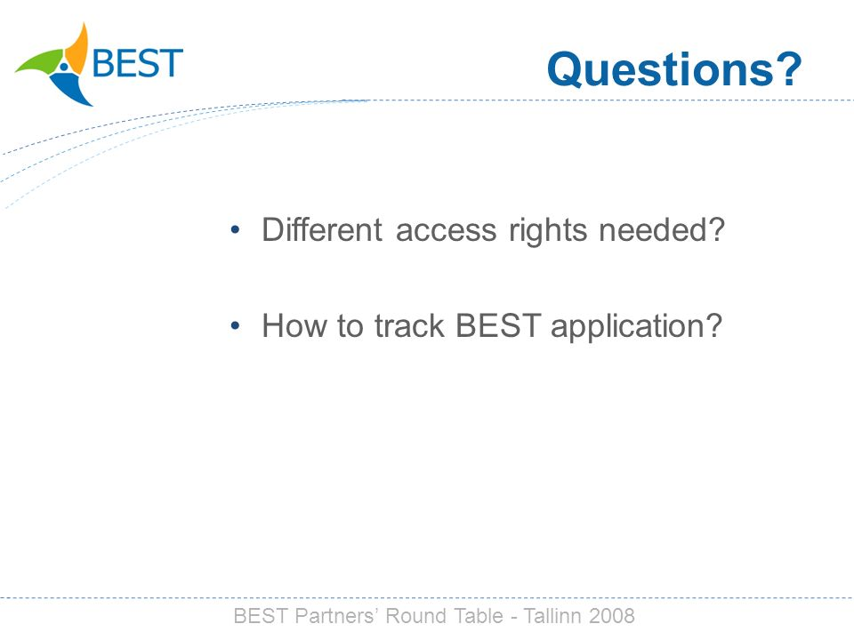 Questions. Different access rights needed. How to track BEST application.