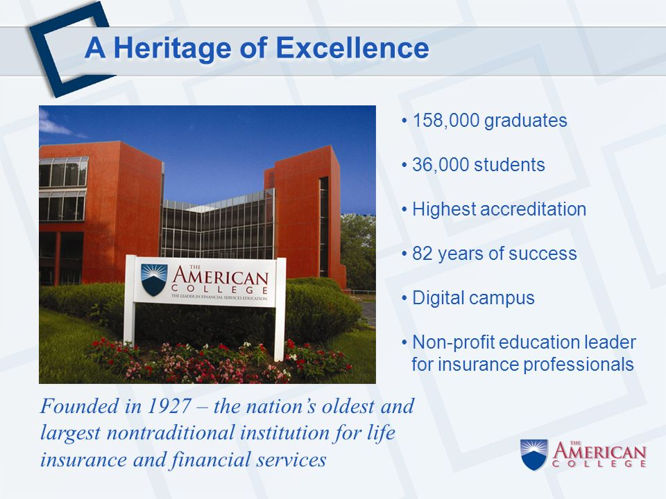 A Heritage of Excellence 158,000 graduates 36,000 students Highest accreditation 82 years of success Digital campus Non-profit education leader for insurance professionals Founded in 1927 – the nations oldest and largest nontraditional institution for life insurance and financial services