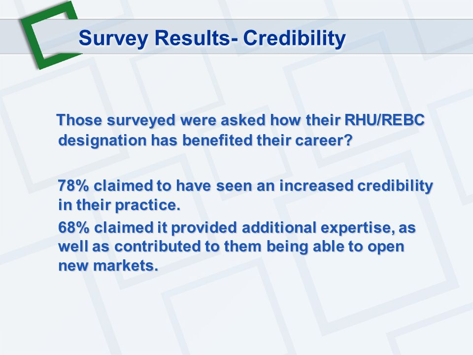 Those surveyed were asked how their RHU/REBC designation has benefited their career.