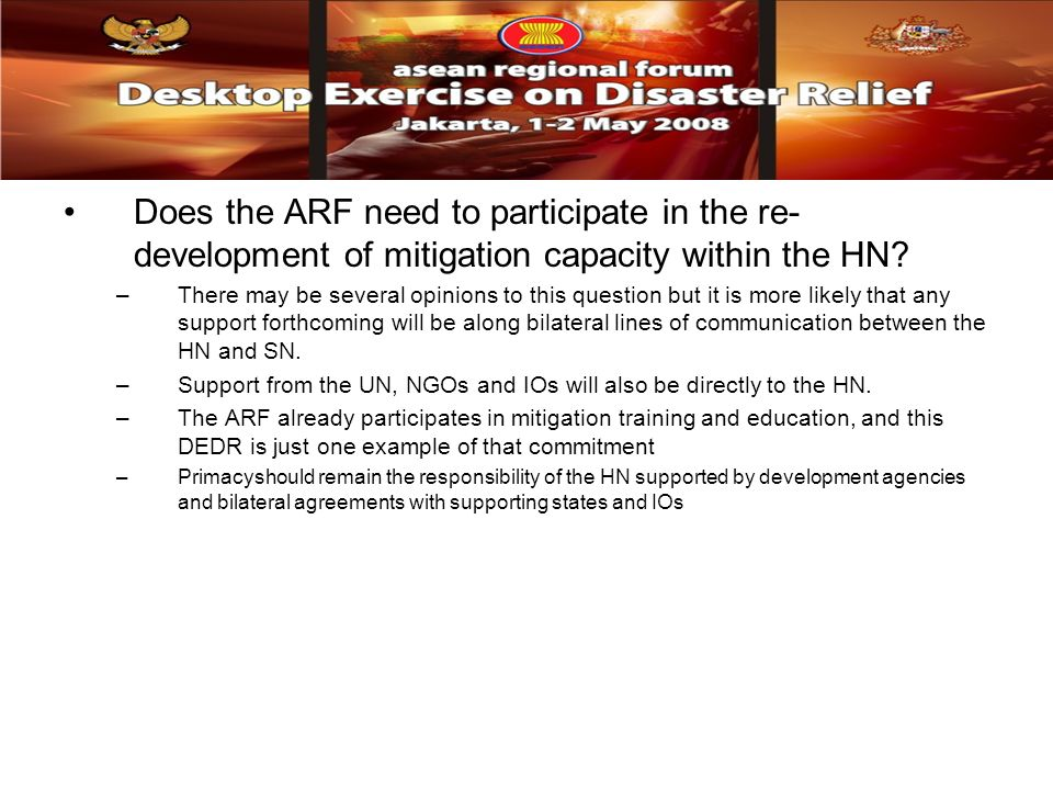 Does the ARF need to participate in the re- development of mitigation capacity within the HN.