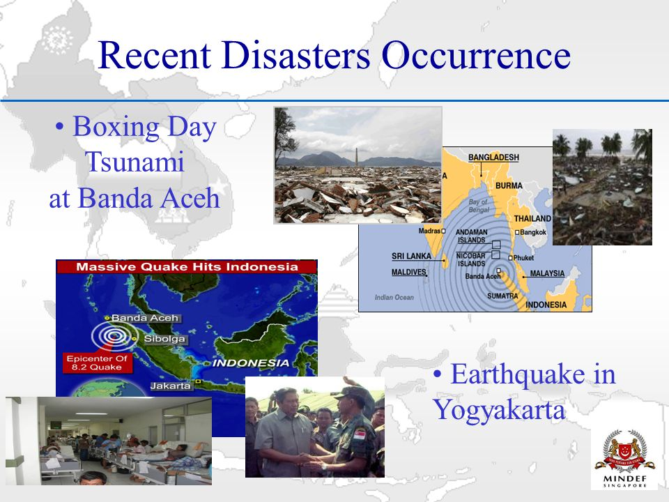 Recent Disasters Occurrence Boxing Day Tsunami at Banda Aceh Earthquake in Yogyakarta