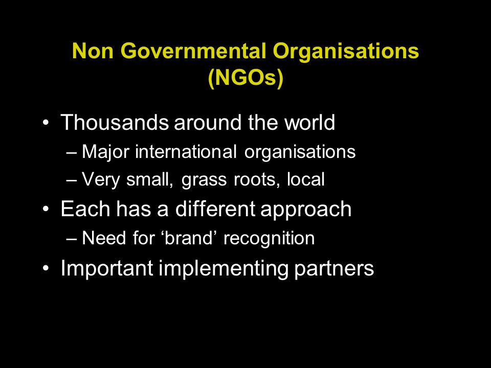 Non Governmental Organisations (NGOs) Thousands around the world –Major international organisations –Very small, grass roots, local Each has a different approach –Need for brand recognition Important implementing partners