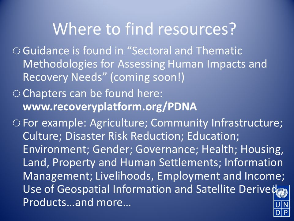 Where to find resources.
