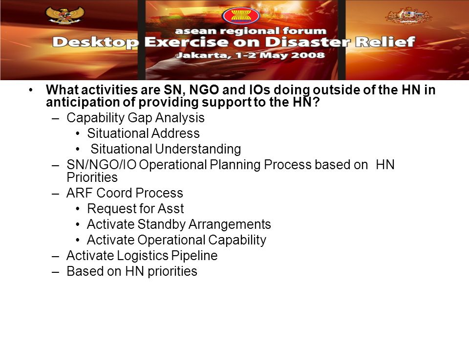 What activities are SN, NGO and IOs doing outside of the HN in anticipation of providing support to the HN.