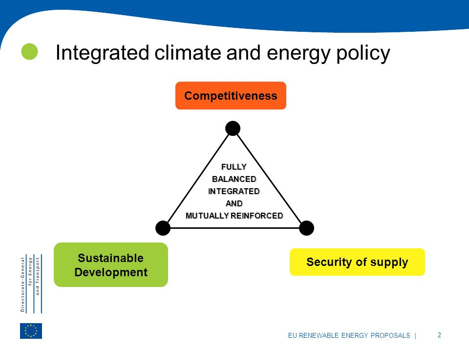 | 2 EU RENEWABLE ENERGY PROPOSALS Integrated climate and energy policy FULLYBALANCEDINTEGRATEDAND MUTUALLY REINFORCED Sustainable Development Competitiveness Security of supply