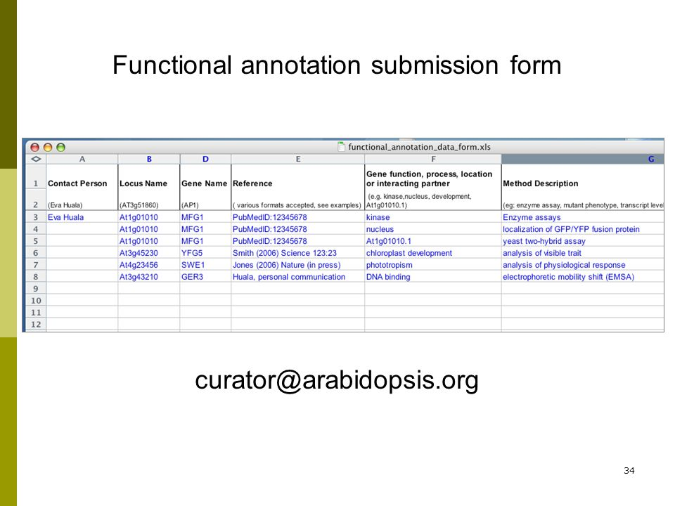 34 Functional annotation submission form curator@arabidopsis.org