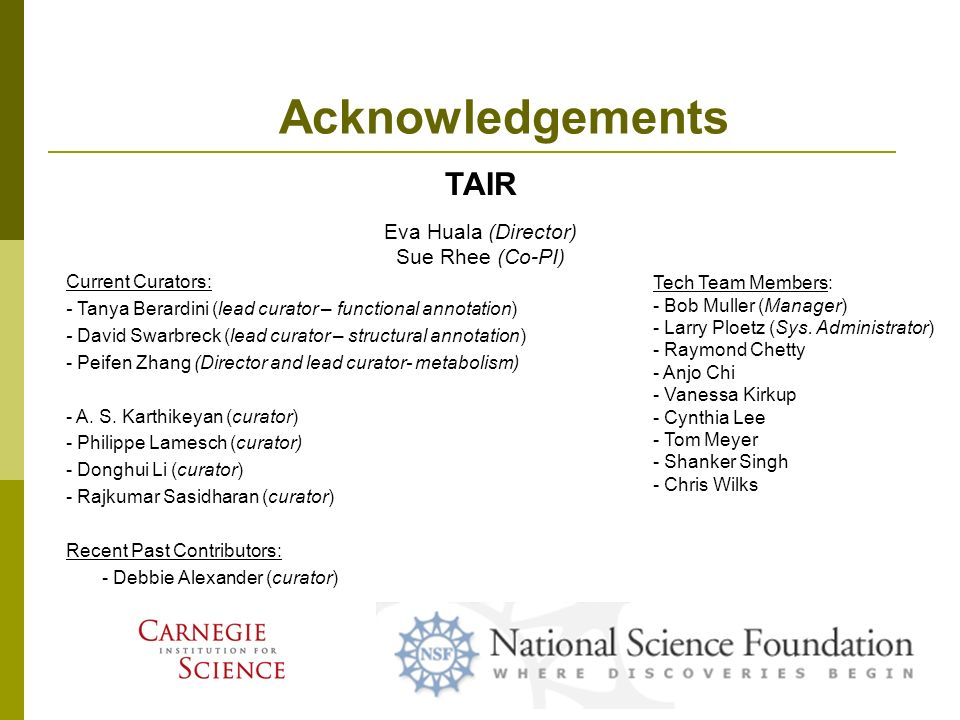 Acknowledgements TAIR Current Curators: - Tanya Berardini (lead curator – functional annotation) - David Swarbreck (lead curator – structural annotation) - Peifen Zhang (Director and lead curator- metabolism) - A.