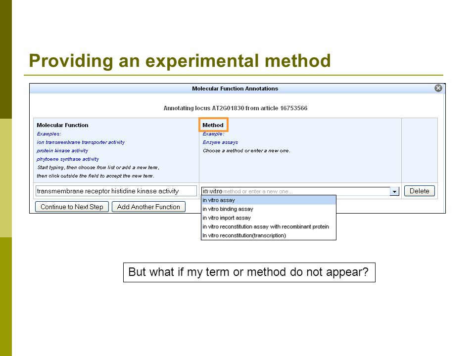Providing an experimental method in vitro But what if my term or method do not appear