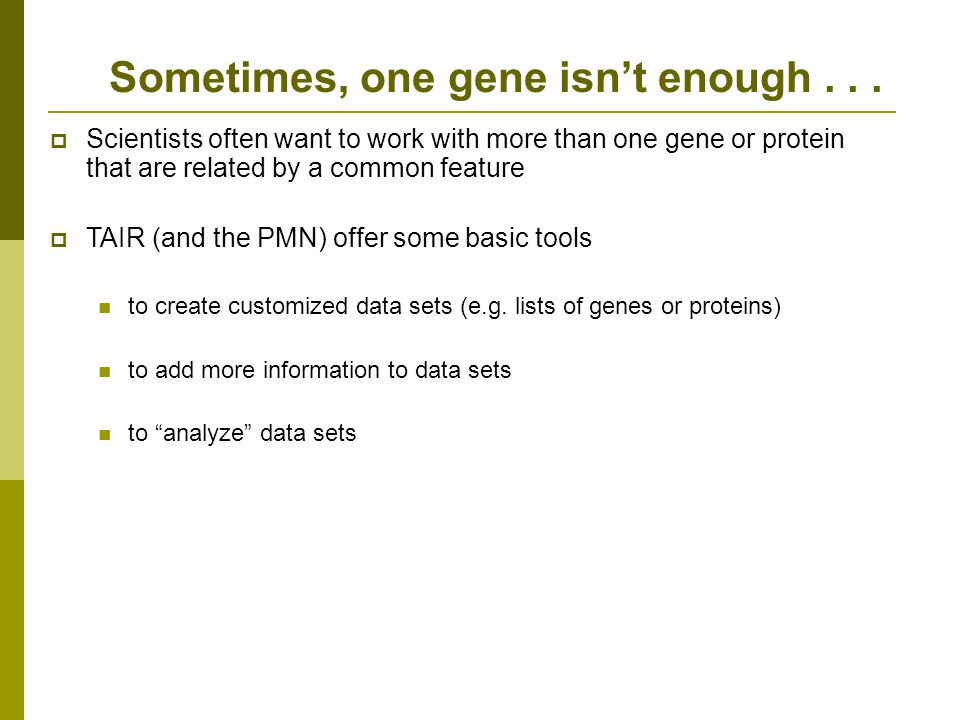 Scientists often want to work with more than one gene or protein that are related by a common feature TAIR (and the PMN) offer some basic tools to create customized data sets (e.g.