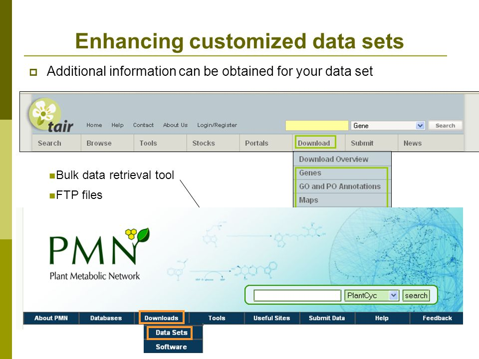 Additional information can be obtained for your data set Enhancing customized data sets Bulk data retrieval tool FTP files