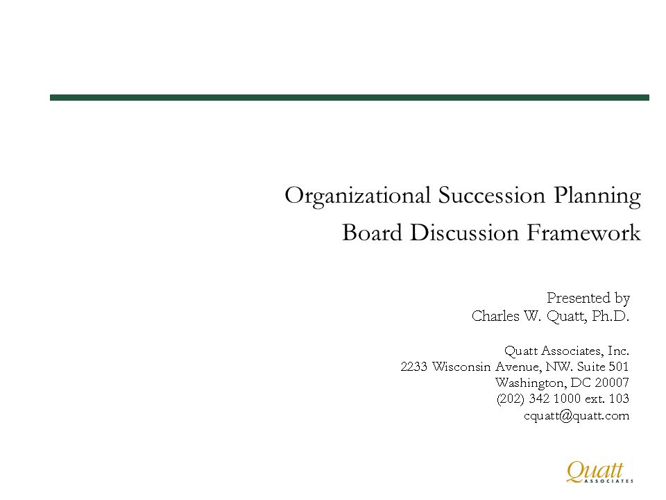 Organizational Succession Planning Board Discussion Framework