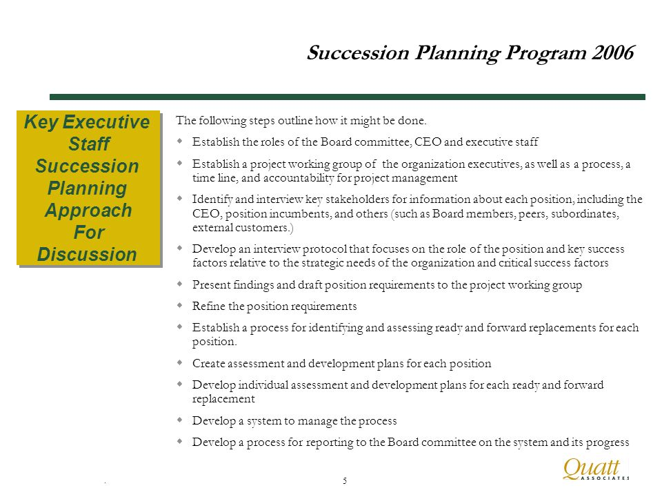 5 Succession Planning Program 2006 The following steps outline how it might be done.