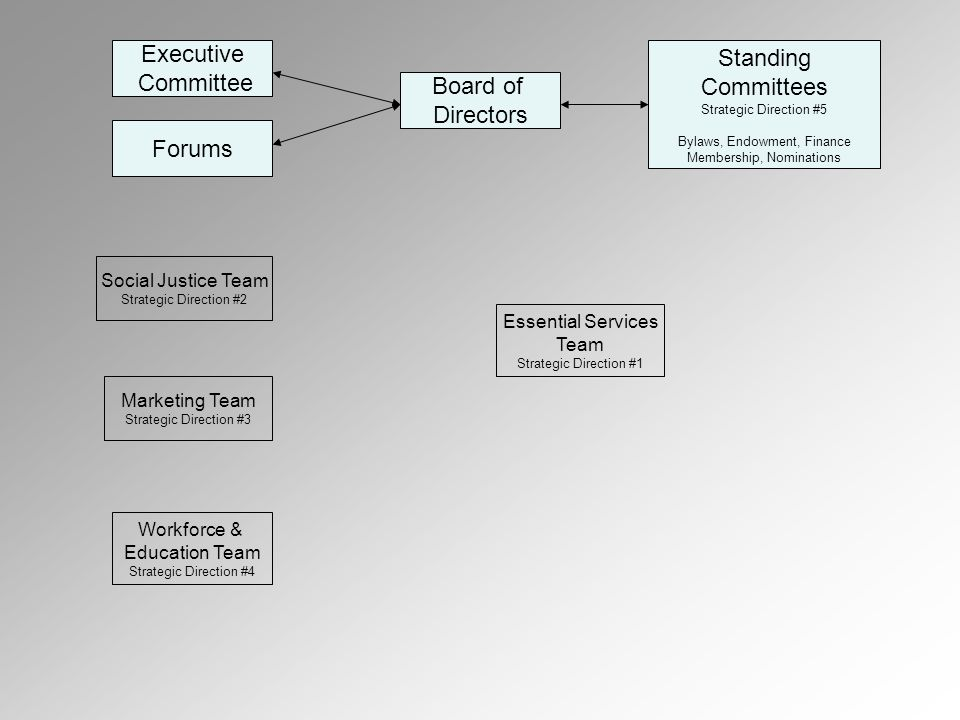 Executive Committee Forums Board of Directors Standing Committees Strategic Direction #5 Bylaws, Endowment, Finance Membership, Nominations Marketing Team Strategic Direction #3 Social Justice Team Strategic Direction #2 Workforce & Education Team Strategic Direction #4 Essential Services Team Strategic Direction #1