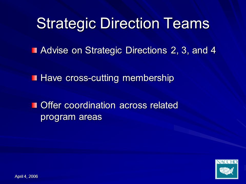 April 4, 2006 Strategic Direction Teams Advise on Strategic Directions 2, 3, and 4 Have cross-cutting membership Offer coordination across related program areas