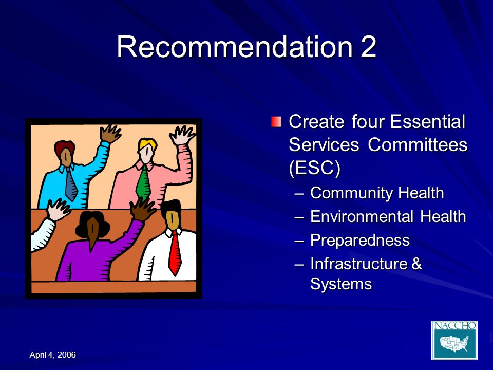 April 4, 2006 Recommendation 2 Create four Essential Services Committees (ESC) –Community Health –Environmental Health –Preparedness –Infrastructure & Systems