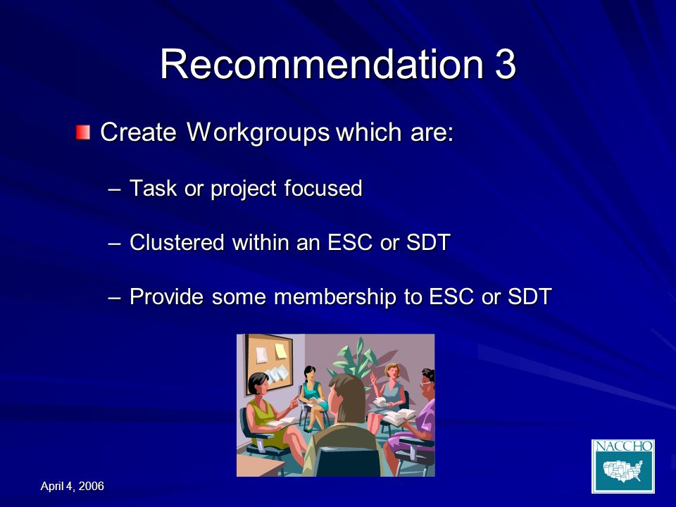 April 4, 2006 Recommendation 3 Create Workgroups which are: –Task or project focused –Clustered within an ESC or SDT –Provide some membership to ESC or SDT