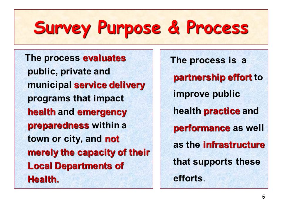 5 Survey Purpose & Process evaluates service delivery healthemergency preparedness not merely the capacity of their Local Departments of Health.