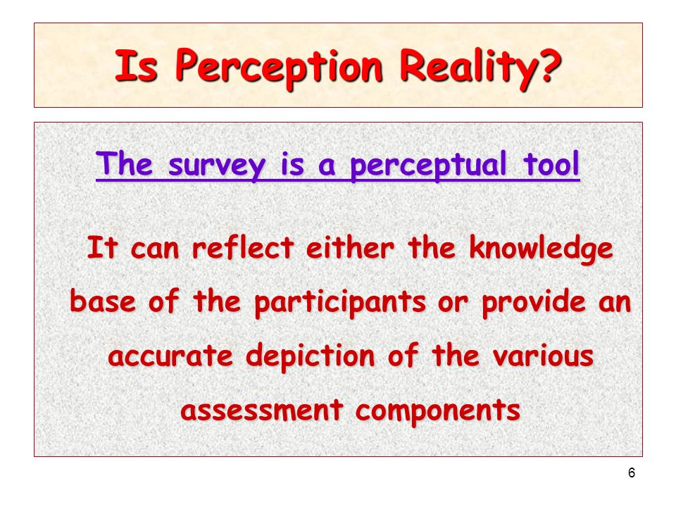6 Is Perception Reality.