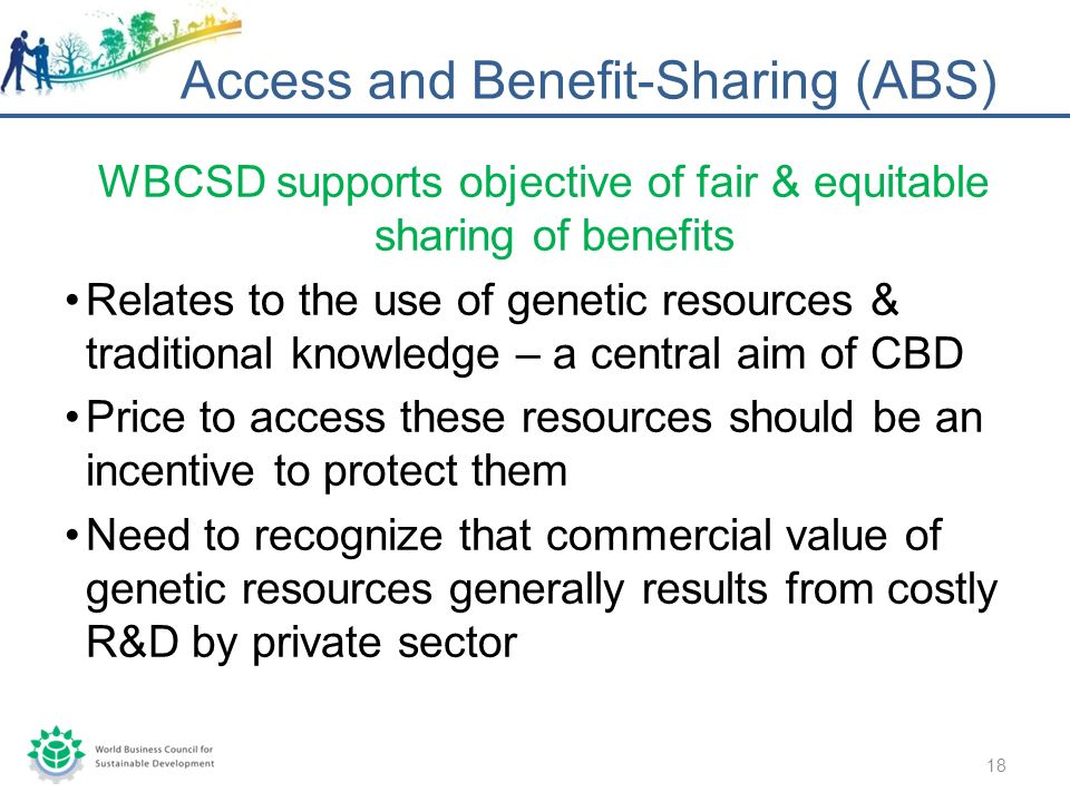 WBCSD supports objective of fair & equitable sharing of benefits Relates to the use of genetic resources & traditional knowledge – a central aim of CBD Price to access these resources should be an incentive to protect them Need to recognize that commercial value of genetic resources generally results from costly R&D by private sector Access and Benefit-Sharing (ABS) 18