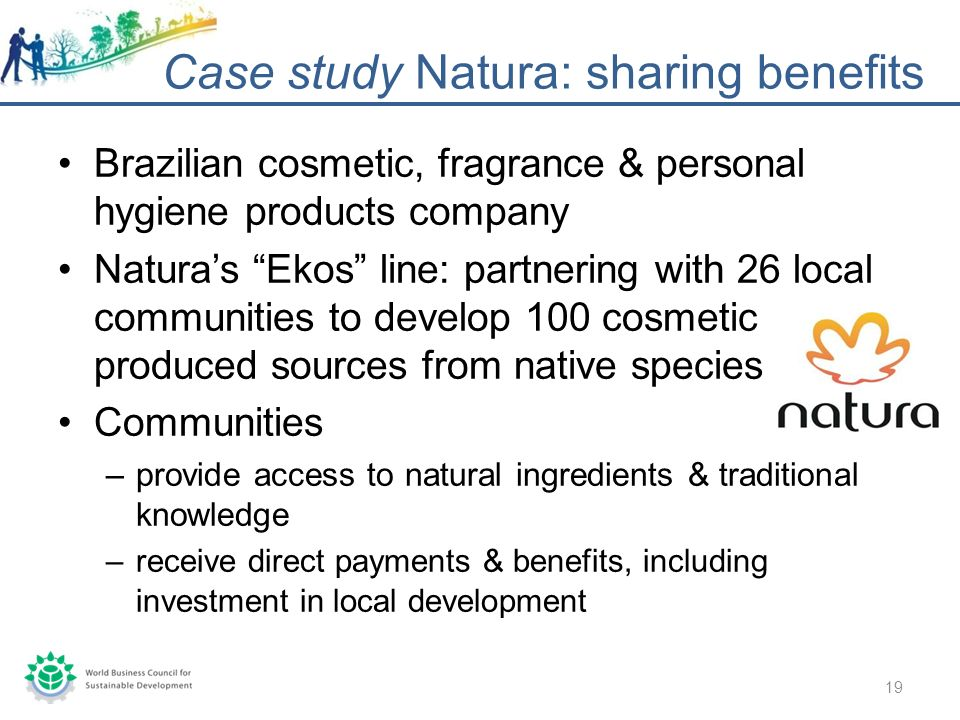 Brazilian cosmetic, fragrance & personal hygiene products company Naturas Ekos line: partnering with 26 local communities to develop 100 cosmetic produced sources from native species Communities –provide access to natural ingredients & traditional knowledge –receive direct payments & benefits, including investment in local development Case study Natura: sharing benefits 19