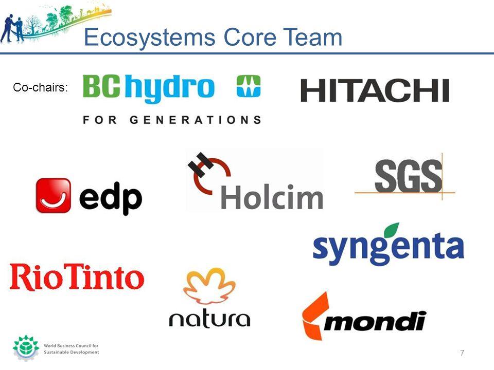 Ecosystems Core Team 7 Co-chairs: