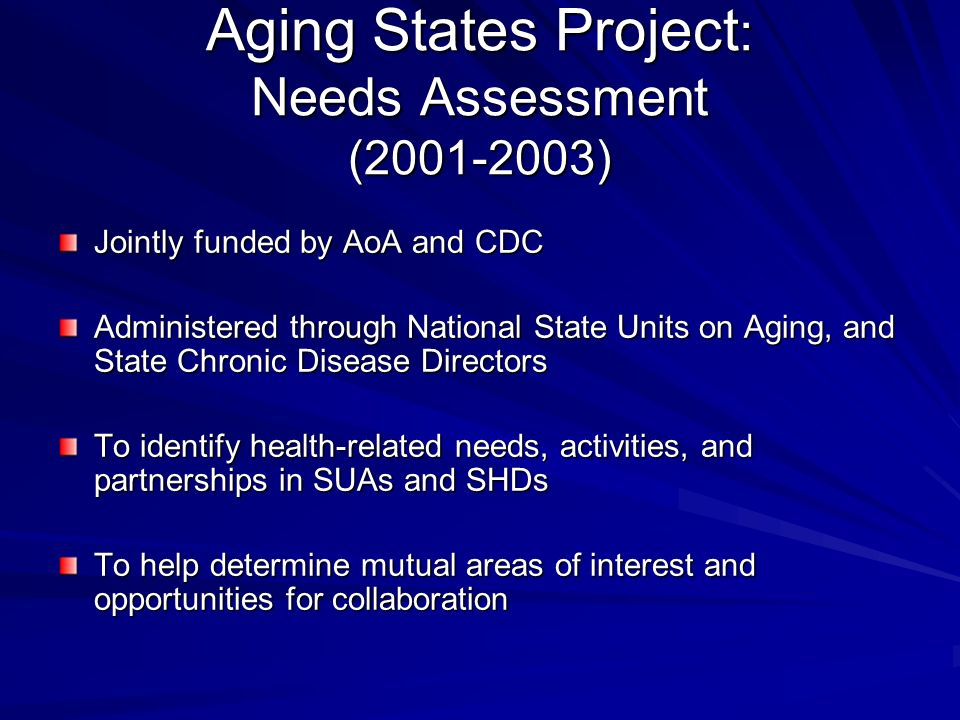 Aging States Project : Needs Assessment (2001-2003) Jointly funded by AoA and CDC Administered through National State Units on Aging, and State Chronic Disease Directors To identify health-related needs, activities, and partnerships in SUAs and SHDs To help determine mutual areas of interest and opportunities for collaboration