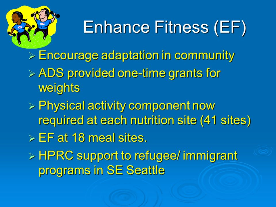 Enhance Fitness (EF) Encourage adaptation in community Encourage adaptation in community ADS provided one-time grants for weights ADS provided one-time grants for weights Physical activity component now required at each nutrition site (41 sites) Physical activity component now required at each nutrition site (41 sites) EF at 18 meal sites.