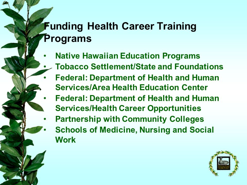 Funding Health Career Training Programs Native Hawaiian Education Programs Tobacco Settlement/State and Foundations Federal: Department of Health and Human Services/Area Health Education Center Federal: Department of Health and Human Services/Health Career Opportunities Partnership with Community Colleges Schools of Medicine, Nursing and Social Work