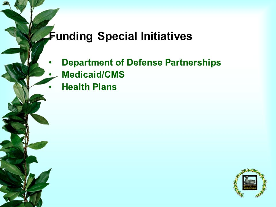 Funding Special Initiatives Department of Defense Partnerships Medicaid/CMS Health Plans