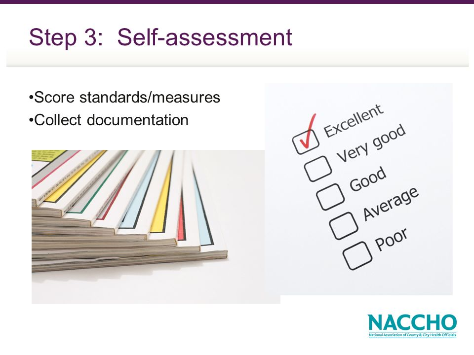 Step 3: Self-assessment Score standards/measures Collect documentation