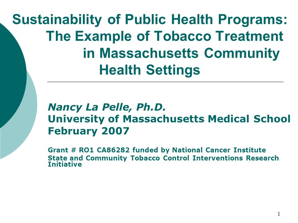 1 Sustainability of Public Health Programs: The Example of Tobacco Treatment in Massachusetts Community Health Settings Nancy La Pelle, Ph.D.