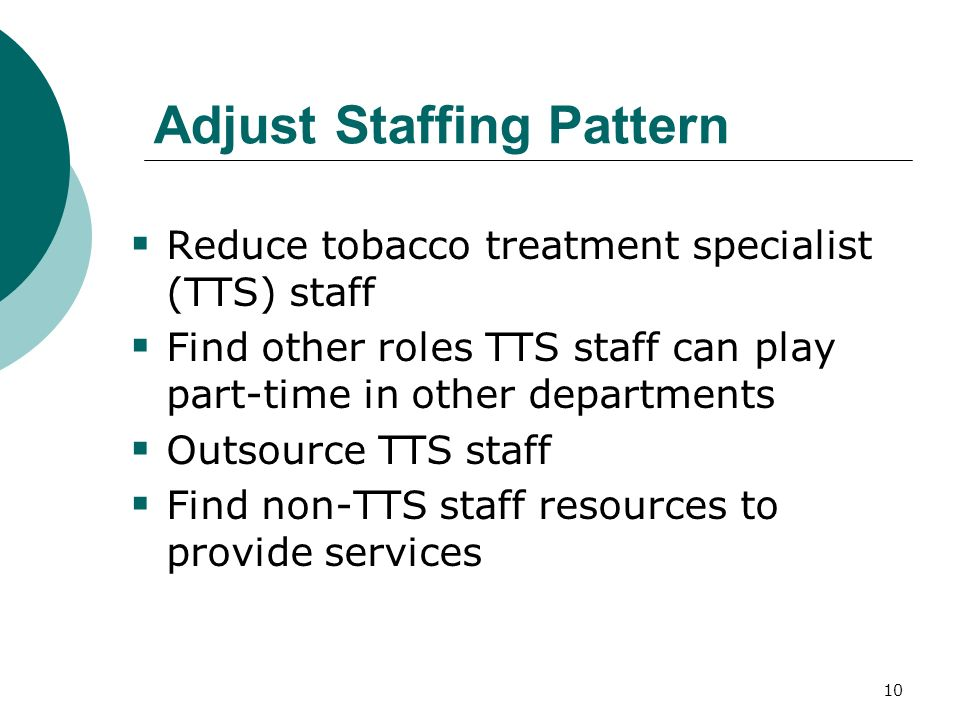 10 Adjust Staffing Pattern Reduce tobacco treatment specialist (TTS) staff Find other roles TTS staff can play part-time in other departments Outsource TTS staff Find non-TTS staff resources to provide services