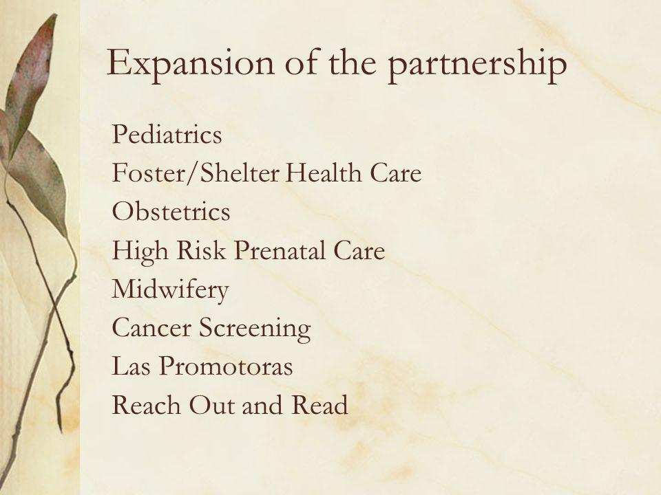Expansion of the partnership Pediatrics Foster/Shelter Health Care Obstetrics High Risk Prenatal Care Midwifery Cancer Screening Las Promotoras Reach Out and Read