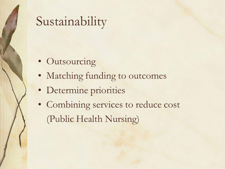Sustainability Outsourcing Matching funding to outcomes Determine priorities Combining services to reduce cost (Public Health Nursing)