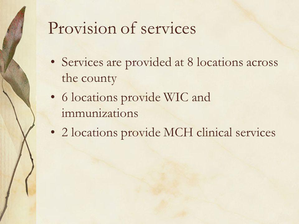 Provision of services Services are provided at 8 locations across the county 6 locations provide WIC and immunizations 2 locations provide MCH clinical services