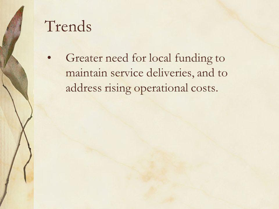 Trends Greater need for local funding to maintain service deliveries, and to address rising operational costs.