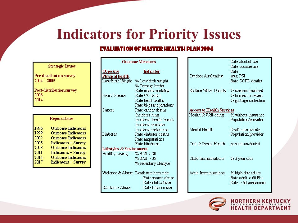 Indicators for Priority Issues