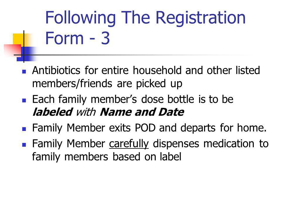 Following The Registration Form - 3 Antibiotics for entire household and other listed members/friends are picked up Each family members dose bottle is to be labeled with Name and Date Family Member exits POD and departs for home.