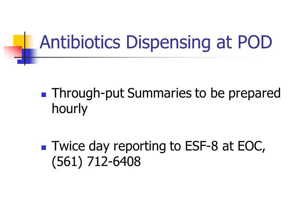 Antibiotics Dispensing at POD Through-put Summaries to be prepared hourly Twice day reporting to ESF-8 at EOC, (561) 712-6408