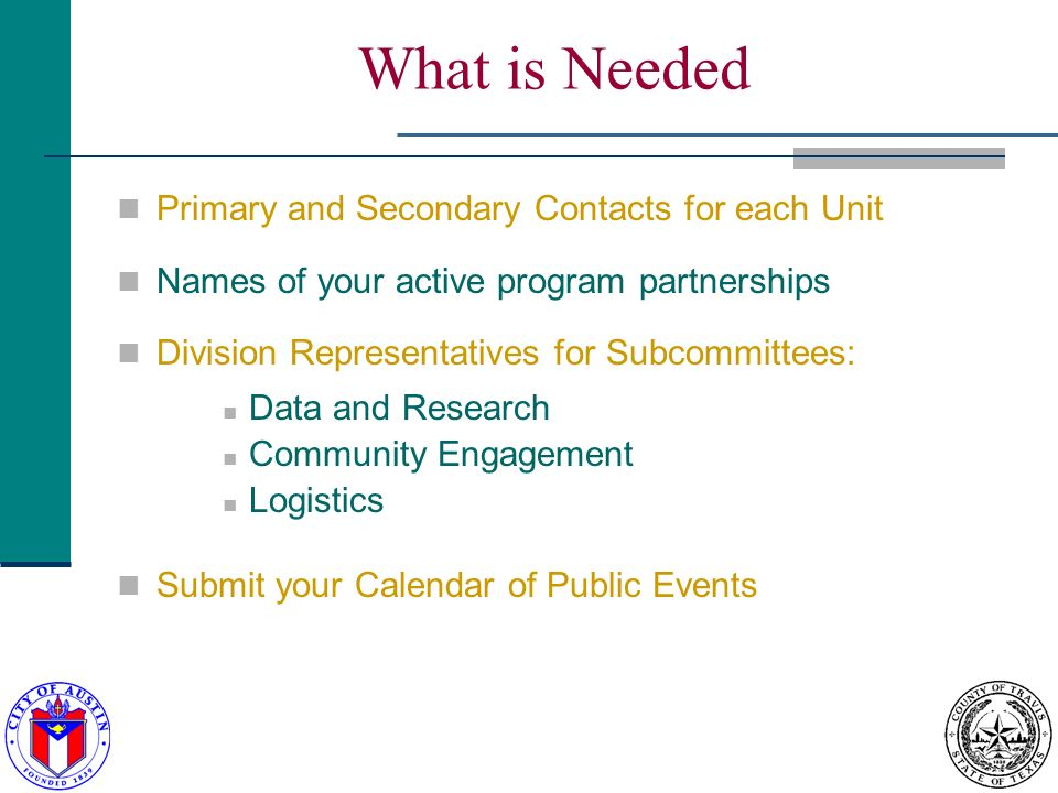 What is Needed Primary and Secondary Contacts for each Unit Names of your active program partnerships Division Representatives for Subcommittees: Data and Research Community Engagement Logistics Submit your Calendar of Public Events