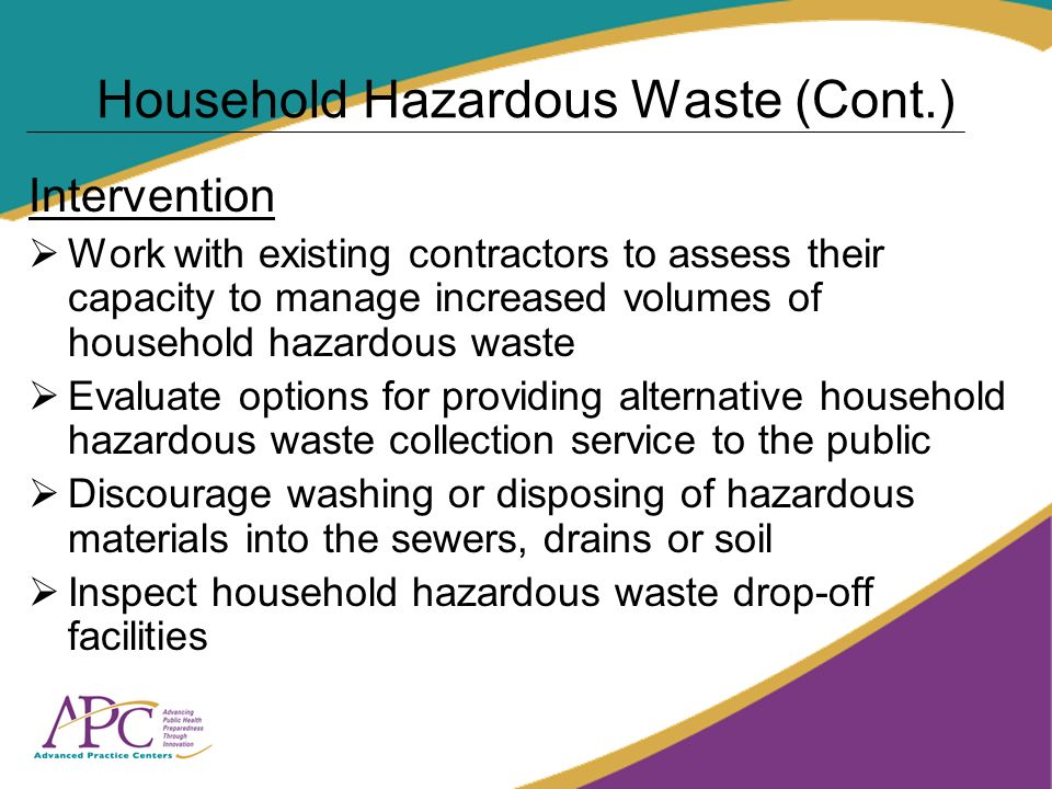 Household Hazardous Waste (Cont.) Intervention Work with existing contractors to assess their capacity to manage increased volumes of household hazardous waste Evaluate options for providing alternative household hazardous waste collection service to the public Discourage washing or disposing of hazardous materials into the sewers, drains or soil Inspect household hazardous waste drop-off facilities