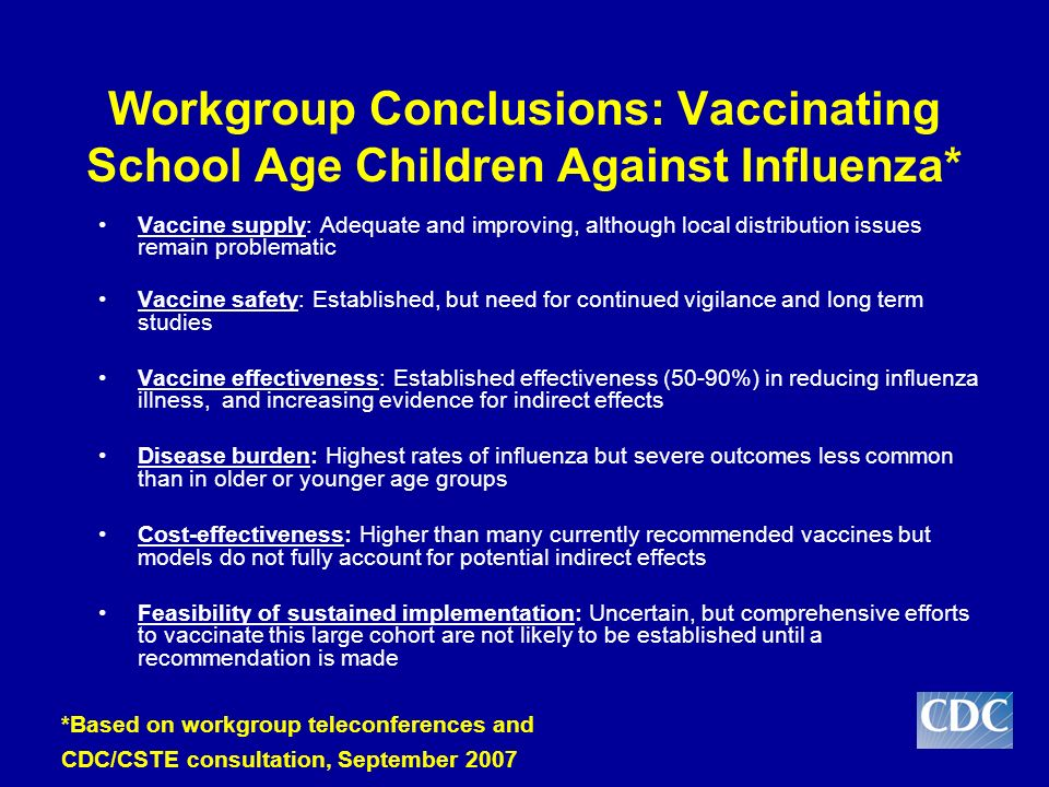 Vaccine supply: Adequate and improving, although local distribution issues remain problematic Vaccine safety: Established, but need for continued vigilance and long term studies Vaccine effectiveness: Established effectiveness (50-90%) in reducing influenza illness, and increasing evidence for indirect effects Disease burden: Highest rates of influenza but severe outcomes less common than in older or younger age groups Cost-effectiveness: Higher than many currently recommended vaccines but models do not fully account for potential indirect effects Feasibility of sustained implementation: Uncertain, but comprehensive efforts to vaccinate this large cohort are not likely to be established until a recommendation is made *Based on workgroup teleconferences and CDC/CSTE consultation, September 2007 Workgroup Conclusions: Vaccinating School Age Children Against Influenza*