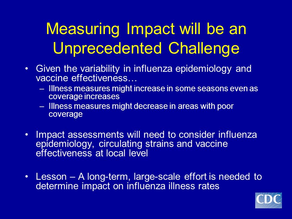 Measuring Impact will be an Unprecedented Challenge Given the variability in influenza epidemiology and vaccine effectiveness… –Illness measures might increase in some seasons even as coverage increases –Illness measures might decrease in areas with poor coverage Impact assessments will need to consider influenza epidemiology, circulating strains and vaccine effectiveness at local level Lesson – A long-term, large-scale effort is needed to determine impact on influenza illness rates