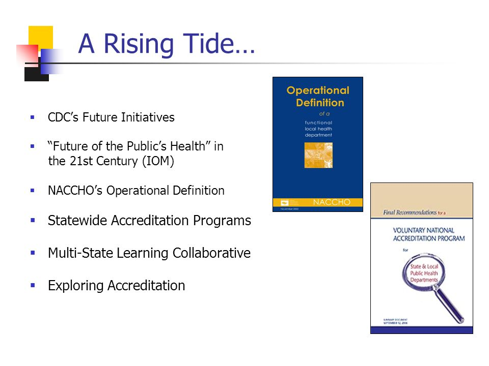 A Rising Tide… CDCs Future Initiatives Future of the Publics Health in the 21st Century (IOM) NACCHOs Operational Definition Statewide Accreditation Programs Multi-State Learning Collaborative Exploring Accreditation