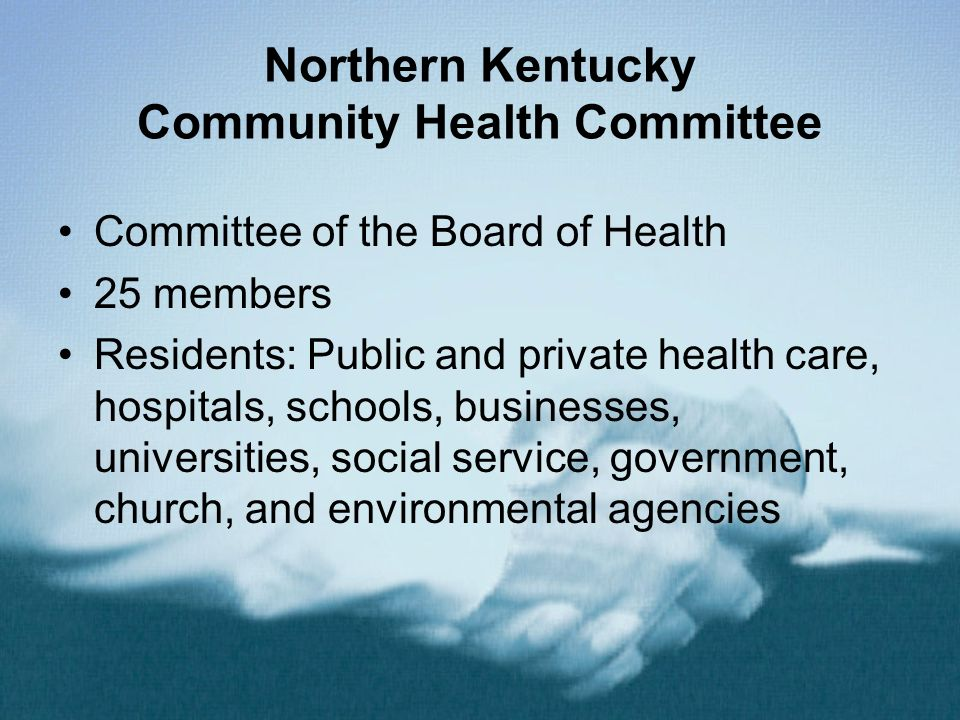 Northern Kentucky Community Health Committee Committee of the Board of Health 25 members Residents: Public and private health care, hospitals, schools, businesses, universities, social service, government, church, and environmental agencies