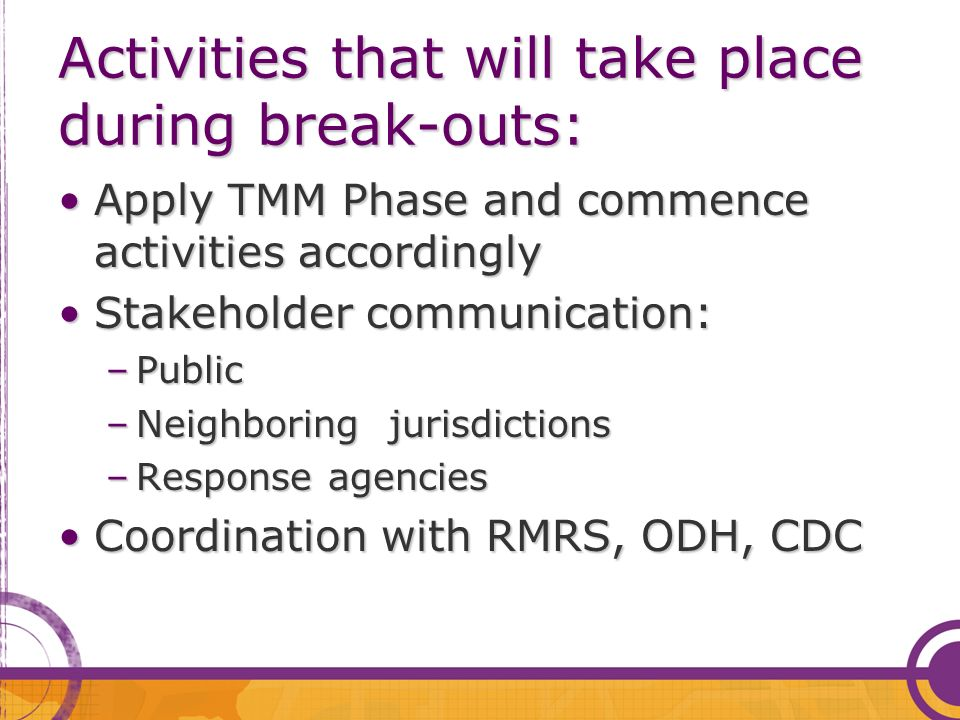 Activities that will take place during break-outs: Apply TMM Phase and commence activities accordinglyApply TMM Phase and commence activities accordingly Stakeholder communication:Stakeholder communication: –Public –Neighboring jurisdictions –Response agencies Coordination with RMRS, ODH, CDCCoordination with RMRS, ODH, CDC