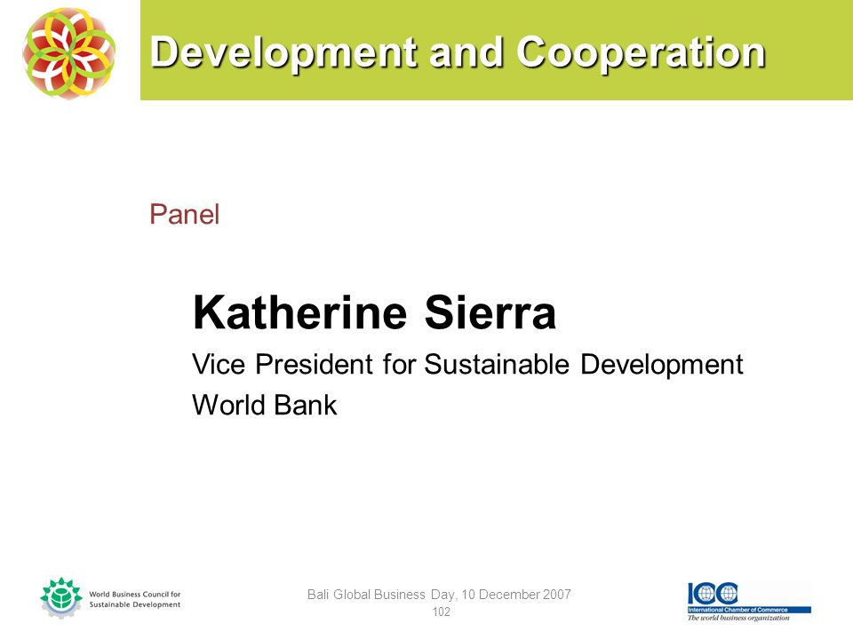 Development and Cooperation Panel Katherine Sierra Vice President for Sustainable Development World Bank Bali Global Business Day, 10 December 2007 102
